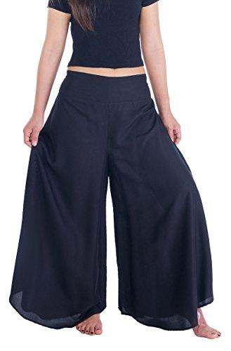 Lannaclothesdesign Palazzo Pants for Women Wide Leg Boho Harem Yoga Pants S M L XL Sizes (M, Solid Black)