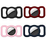 Apple Air Tag Holder for Pets Dog Collar 4 Pack Waterproof Pet Airtag Apple Holder for GPS Cat Collar Finder Locator Tag Silicone Tracker Loop Case