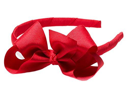 Anna Belen Girls'Lila' Grosgrain Bow Headband O/S Red
