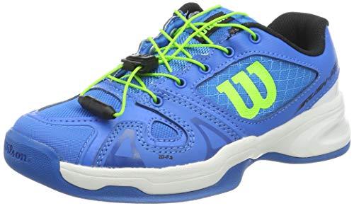 Wilson Rush Pro JR QL Carpet, Zapatilla de Tenis para tenistas de Cualquier Nivel, para Pistas de Interior/moqueta, sintético, para niños, Azul/Blanco/Verde, Talla 34 2/3 EU