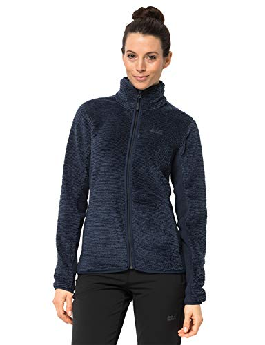 Jack Wolfskin Damen Pine Leaf Jacket Women Fleecejacke Atmungsaktiv, Midnight blau Stripes, L