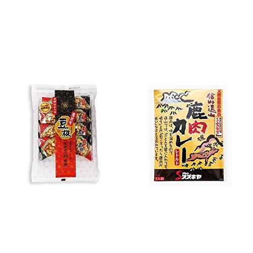 [2点セット] 飛騨銘菓「打保屋」の駄菓子 豆板(8枚入) ・信州遠山 鹿肉カレー 中辛 (1食分)