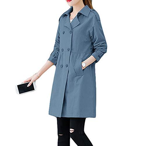 DISCOUNTL Lange Zweireihige Windjacke für Damen, lockere rote Jacke für Damen, Casualanzug, Kragen, Damenjacke (Artikel nur mit Oberbekleidung) Gr. XXX-Large, blau