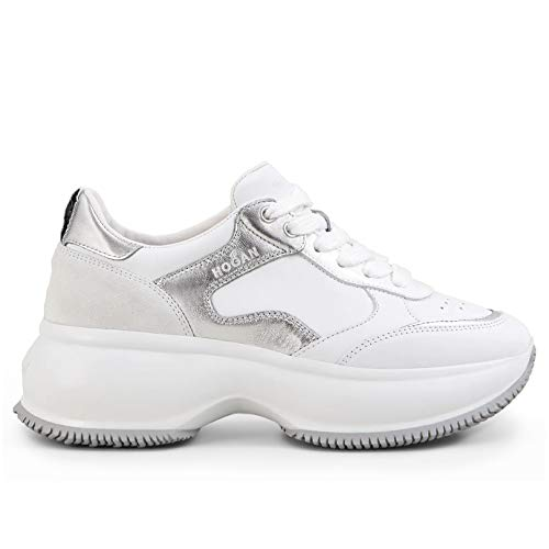 Hogan Maxi I Active Sneakers voor dames, wit en zilver, HXW4350BN50 KJN0351, maat
