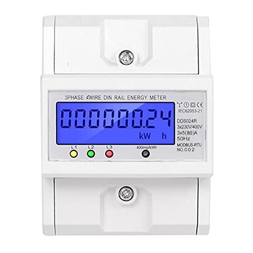 EVTSCAN último medidor de energía de consumo de energía de carril DIN trifásico de 4 cables vatímetro electrónico RS485 retroiluminación LCD