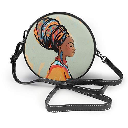 Mujer africana con pendientes de mujer redonda cruzada cartera de cuero suave círculo cartera de moda
