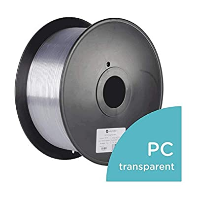 Polymaker PolyLite PC (Formerly PC-Plus) 3D Printer Filament, PC Filament, 1.75mm Filament, 6.6lb(3Kg), 3D Printing Filament, Transparent Filament