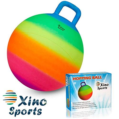 Xino Sports Hopping Ball for Kids, Offers Hours of Incredible Fun for The Whole Family, Amazing Space Hopper Ball, Safe and Durable Jumping Ball with Handle, 18 Inch Diameter