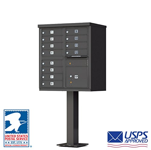 Vital Cluster Box Unit, 12 Mailboxes, 1 Parcel Locker, Dark Bronze