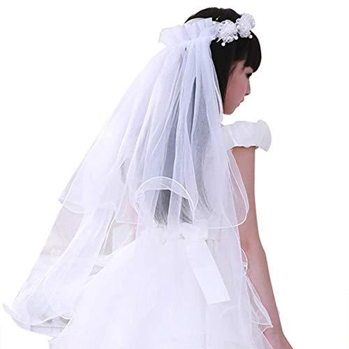 Guirnalda de flores para niña velo de novia doble capa tul corona para el pelo accesorios para la princesa vestido de boda fiesta fiesta viaje playa o comunión
