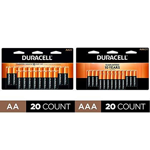Duracell - CopperTop AA Alkaline Batteries - long lasting - 20 Count with CopperTop AAA Alkaline Batteries - long lasting,- 20 count