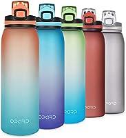 Opard Drinkfles, BPA-vrije waterfles met rietje, 1-klik sluiting lekvrije waterfles, tijdmarkering sportfles