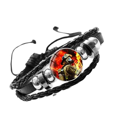 Pulsera de bomberos de la profesión de bomberos de la carrera de regalo del departamento de fuego patrón de cúpula de cristal con botón de presión ajustable