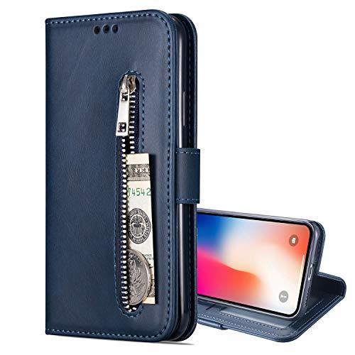 Nadoli Lederhülle für Samsung Galaxy M51,Stilvoll Reißverschluss Entwurf Pu Leder Magnetverschluss Standfunktion Kartenfächer Brieftasche Handyhülle Etui mit Lanyard