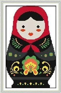 Joy Sunday Cross Stitch kits, Russian dolls (1),11CT Printed, 33cm×48 or 12.87
