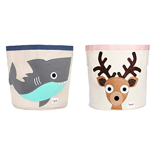 3 Sprouts UBNSHK + UBNDEE Canvas Storage Bin Laundry & Toy Basket for Baby and Kids, Shark, Deer