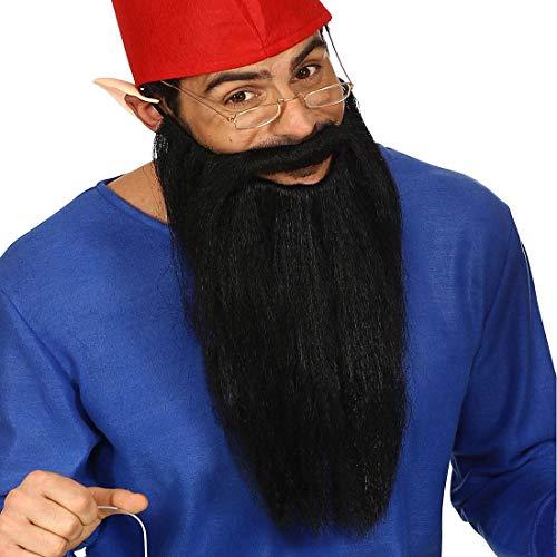 NET TOYS Langer ZZ Top Bart mit Schnurrbart - Schwarz - Außergewöhnliches Unisex-Kostüm-Zubehör Rocker - Bestens geeignet für Fasching & Karneval