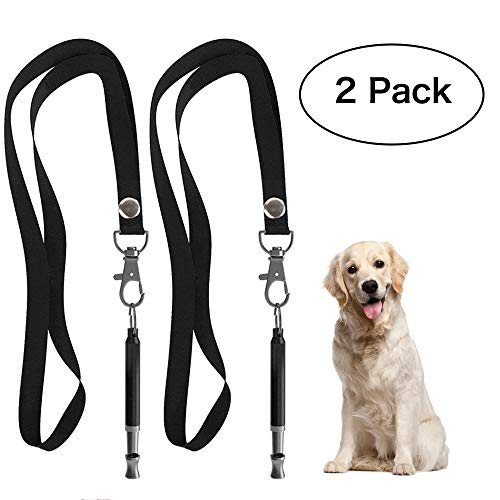 HEHUI Dog Whistle to Stop Barking, Professional Silent Dog Whistle Training, Adjustable Pitch Ultrasonic Dog Whistle Silent Bark Control- 2 Pack Dog Whistle with 2 Free Lanyard Strap
