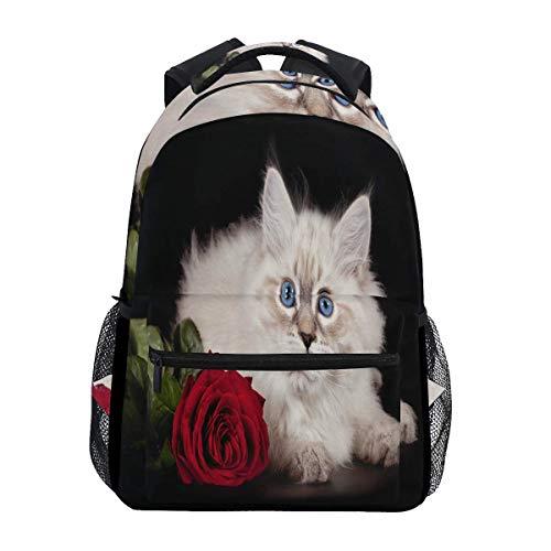 Daypacks Cat Kitten Rose Blumengeschenk Lässiger Rucksack Retro Bookbag Vintage School Bedruckte Umhängetasche Teens Leichte Student Travel College Daypack Langlebiges Special