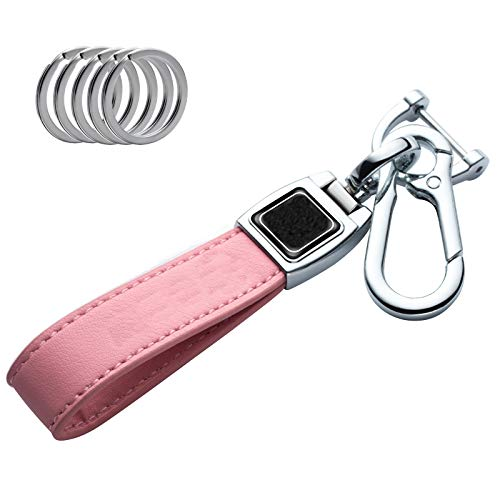 HHSAWJF Genuine Leather car Logo Keychain Suit for BMW 1 3 5 6 Series X5 X6 Z4 X1 X3 X7 7 Series, M Key Chain Keyring Family Present for Man and Woman (Pink-1pcs