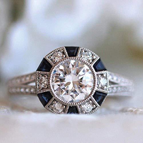 Europese en Amerikaanse Mode Sieraden-Inlaid Blauwe Trapeziumvormige Ring Natuurlijke Hemel Blauwe Geboortesteen Ring Sieraden, Thumby 10