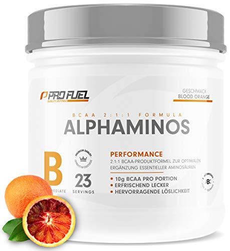 ALPHAMINOS | TESTSIEGER BCAA Pulver 2:1:1 | Das ORIGINAL von ProFuel | Essentielle Aminosäuren | Unfassbar leckerer Geschmack (Blood Orange)