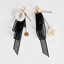 GMXEHUAN Earring High Quality Simple Sweet And Cute Animal Pattern Unique Design Charm New Popular Lace Earings Fashion Jewelry Shell Alloy Wafer Asymmetry Long Earrings For Women