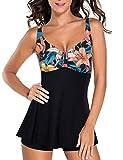 FeelinGirl Traje de Baño de 1 Pieza - Mujeres Tankini Vestido Estampado Floral Talla Grande Bañador Tirantes Ajustables Negro 4XL:Talla-50