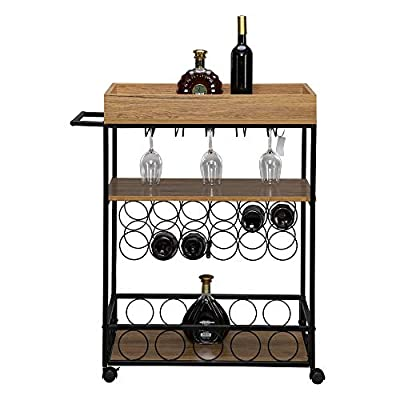 Kcelarec Rolling Wood Kitchen Island Storage Trolley Utility Cart Rack with Wine Rack, Hanging Glass Storage by Kcelarec