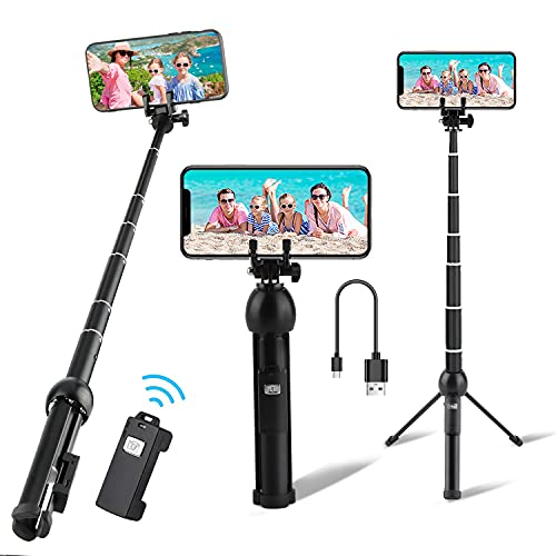Selfie Stick, Eocean 45 Inch Aluminum Alloy Selfie Stick Phone Tripod, Portable Tripod Stand with Wireless Remote Shutter, Compatible with iPhone 12/11/XR/X/Pro and Android Samsung Smartphone
