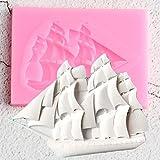 FGHHT Molde de Silicona de velero 3D,Herramientas de decoración de Pasteles de cumpleaños, moldes para Hornear Galletas y Cupcakes, moldes de Pasta de Goma de Chocolate y Arcilla de Caramelo