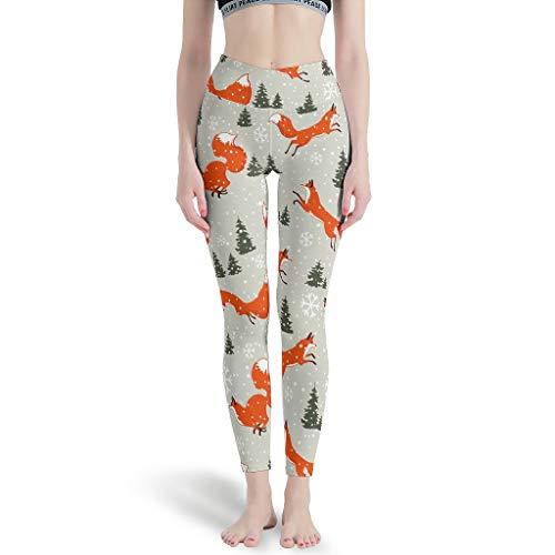 LPLoveYogaShop Leggings para mujer, diseño navideño de zorro, ultrasuaves, pantalones de yoga, polainas, ropa de entrenamiento para deporte blanco XXL