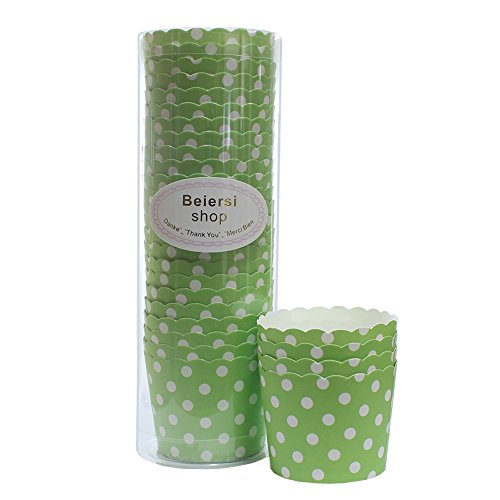 Beiersi 24Pcs Point d'onde Paper Cake Cup Cupcake Cases Liners Muffin Cuisine Baking Wedding Party Bake The Cake Cup (Vert)