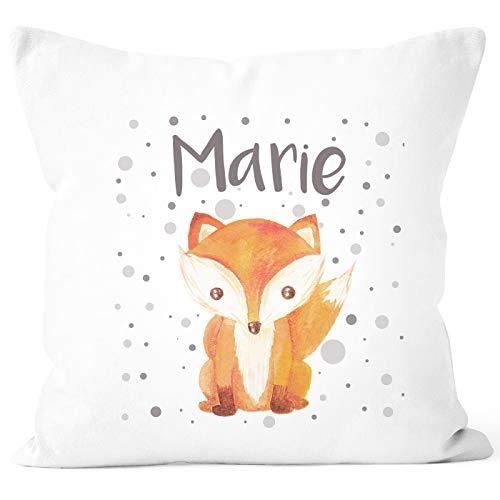 SpecialMe® Kissen-Bezug mit Namen Fuchs-Motiv Kissen-Hülle Namenskissen Baumwolle personalisierte Geschenke Dekokissen weiß Unisize