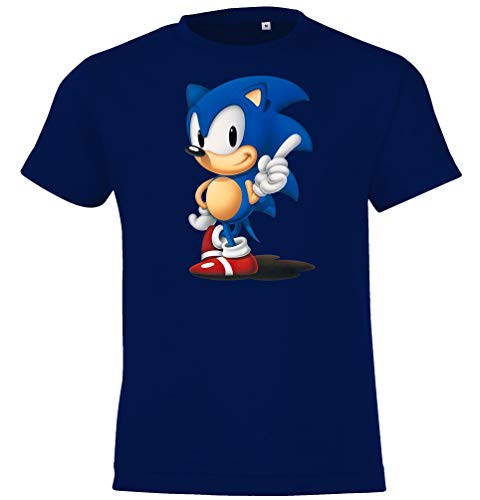 Kinder Jungen Mädchen T-Shirt Modell Sonic - Navyblau 118/128 (8 Jahre)