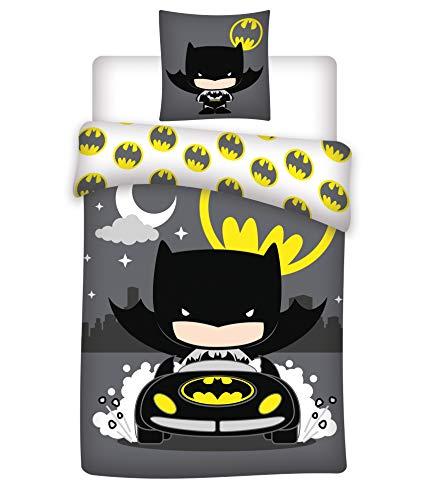 Batman Bettwäsche-Set 100% Baumwolle Bettbezug 140x200 cm + Kissenbezug