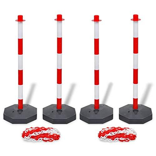 Tidyard Set Stradale con 4 Pali e 2 Catene in Plastica 2x10 m,Paletti delimitazione in Plastica