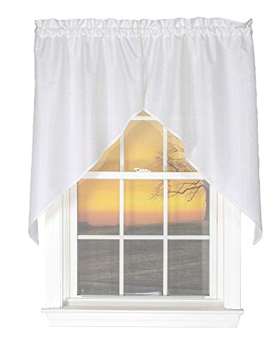 Curtain Chic Susquehanna 56 Inches Wide x 38 Inches Long Polyester Swag Curtain, White