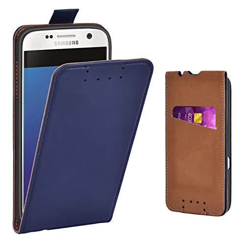 Adicase Galaxy S7 Hülle Leder Tasche für Samsung Galaxy S7 Handyhülle Flip Case Schutzhülle (Blau)