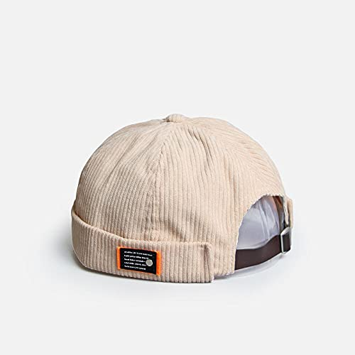 YDXC Caps Vintage Beanie Hats Men Women Spring Autumn Landlord Hat Streetwear Brimless Hat Corduroy Docker Cap Apply To Running Travel Fishing Etc-Khaki_56-59Cm