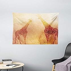 Ambesonne Safari Tapestry, Illustration Tropic Giraffes Tallest Neck Animal Mammal in Retro Vintage Print, Wide Wall Hanging for Bedroom Living Room Dorm, 60 X 40, Orange