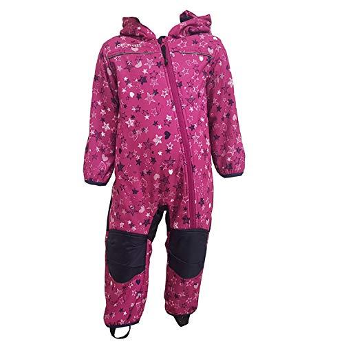 Outburst - Baby Kinder Mädchen Softshell-Overall Schneeanzug gefüttert wasserdicht 10.000 mm Wassersäule atmungsaktiv Winddicht Sterne Herzen, lila - 3714272, Größe 86