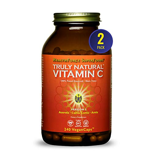 HealthForce SuperFoods Truly Natural Vitamin C - 240 VeganCaps - Pack of 2 - Whole Food Vitamin C Complex from Acerola Cherry Powder - Immune Support - Vegan & Gluten Free - 60 Total Servings