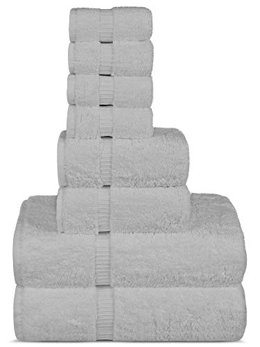 Chakir Turkish Linens Hotel & Spa Quality, Highly Absorbent Towel Set (Set of 8, White)