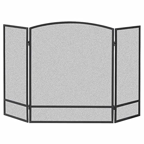 LJFYXZ Salvachispas Plegable Simplicidad Moderna Partición de Chimenea Triple de Piso a Techo con Malla de Metal Decoración de la Pantalla de Fuego Cerca de la Estufa casera 122x76cm(Color:Negro)