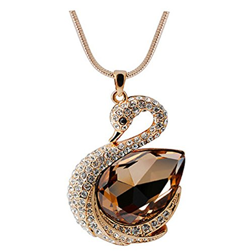 Chaomingzhen Gold Plated Yellow Crystal Swan Goose Pendants Extra Long Necklaces Women