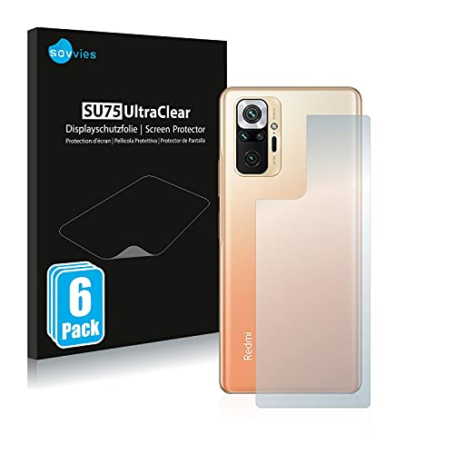 Savvies 6X Schutzfolie kompatibel mit Xiaomi Redmi Note 10 Pro Max (Rückseite) Bildschirmschutz-Folie Ultra-transparent