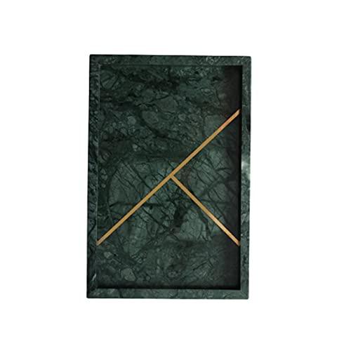 ZJH Vassoio Vassoio in Marmo, Vassoio di vanità, Vassoio di stoccaggio del Serbatoio della Toilette, Vassoio del Bagno, vanità per Il Vassoio per Tessuti Deposito Desktop (Color : Green)