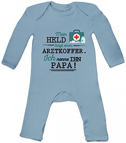 Geschenk zum Vatertag Arzt Doktor Baby Strampler Langarm Schlafanzug Jungen Mädchen Papa - Mein Held trägt einen Arztkoffer, Größe: 3-6 Monate,Dusty Blue