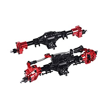 Binchil Aluminum CNC Anodized Full Front Rear Portal Axle for 1/10 RC Crawler Car Axial SCX10 II 90046 90047 Upgrade Parts Black+Red